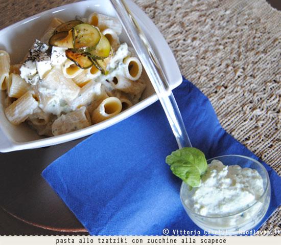 Pasta allo tzatziki con zucchine a scapece