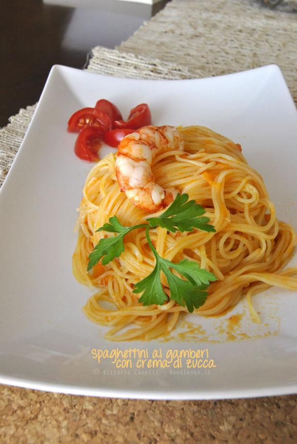 Spaghettini ai gamberi con crema di zucca 1
