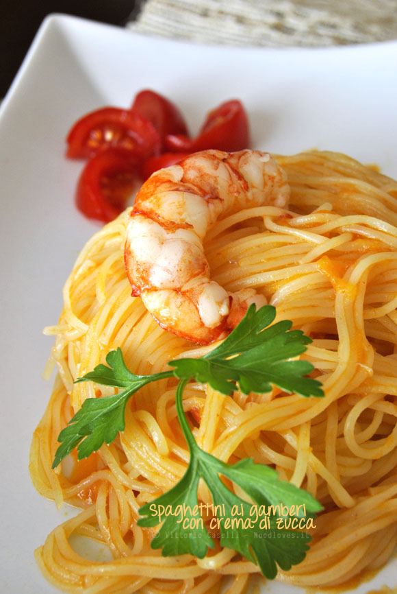 Spaghetti ai gamberi con crema di zucca