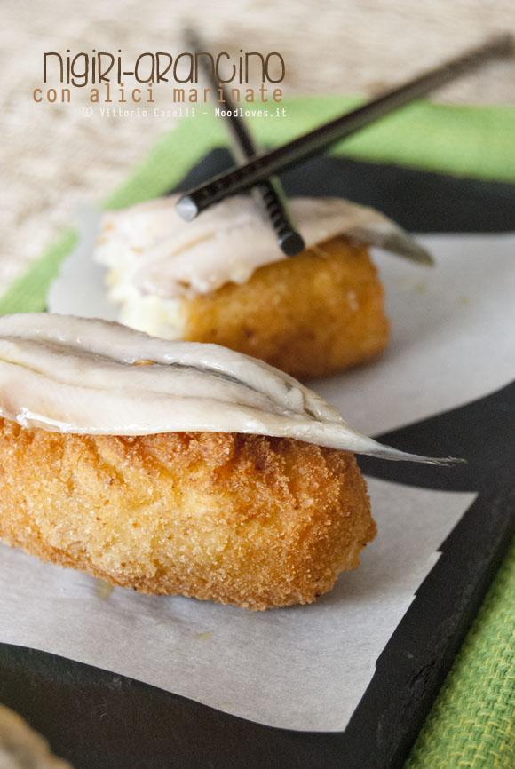 Nigiri Arancino con alici marinate