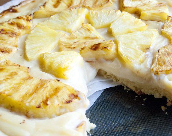 Crostata con ananas piastrata alla cannella