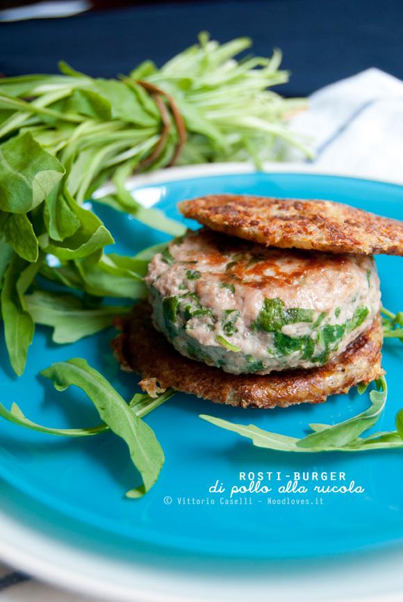 Rösti-Burger di pollo alla rucola