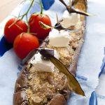 Melanzane ripiene con salsiccia robiola pomodorini