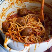 Spaghetti with meatballs all'amatriciana!