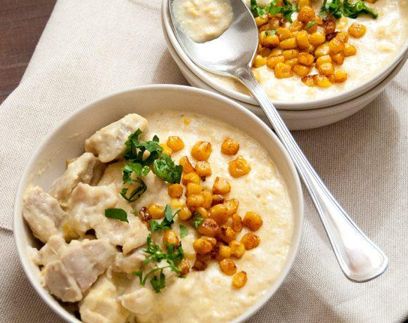 Pollo al latte con zuppa di mais