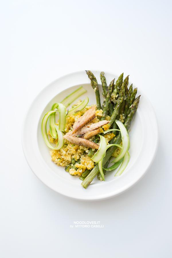 Cous cous agli asparagi (veg o con sgombro)