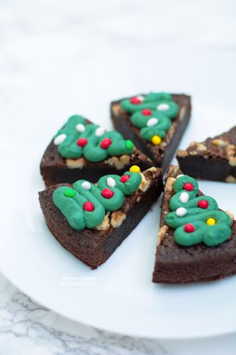 Alberi di Natale brownies decorati
