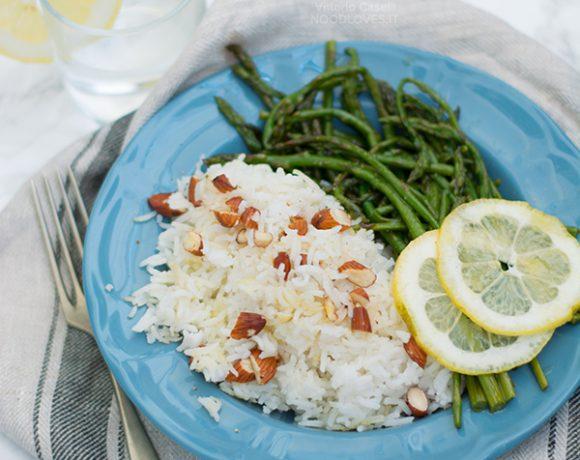 Basmati con asparagi selvatici al limone e mandorle